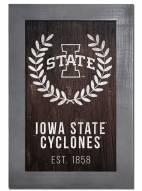 "Iowa State Cyclones 11"" x 19"" Laurel Wreath Framed Sign"