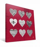 "Iowa State Cyclones 12"" x 12"" Hearts Canvas Print"