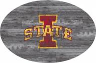 """Iowa State Cyclones 46"""" Distressed Wood Oval Sign"""
