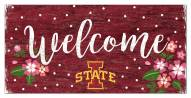 """Iowa State Cyclones 6"""" x 12"""" Floral Welcome Sign"""