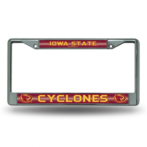 Iowa State Cyclones Chrome Glitter License Plate Frame