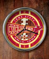 Iowa State Cyclones Chrome Wall Clock