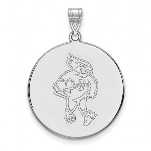 Iowa State Cyclones Sterling Silver Extra Large Disc Pendant