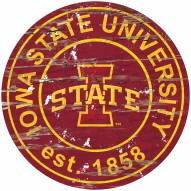 Iowa State Cyclones Distressed Round Sign