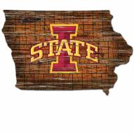 Iowa State Cyclones Distressed State with Logo Sign
