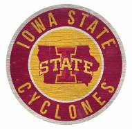 Iowa State Cyclones Round State Wood Sign
