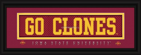"""Iowa State Cyclones """"Go Clones"""" Stitched Jersey Framed Print"""