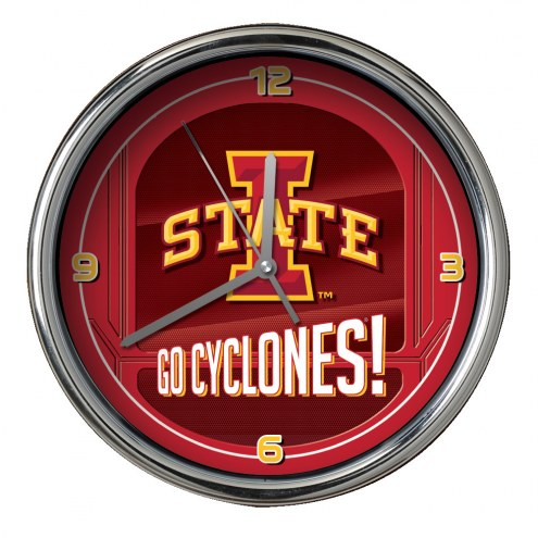 Iowa State Cyclones Go Team Chrome Clock