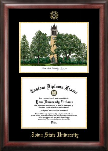 Iowa State Cyclones Gold Embossed Diploma Frame with Lithograph