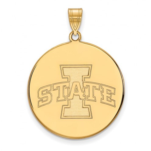 Iowa State Cyclones Sterling Silver Gold Plated Extra Large Disc Pendant