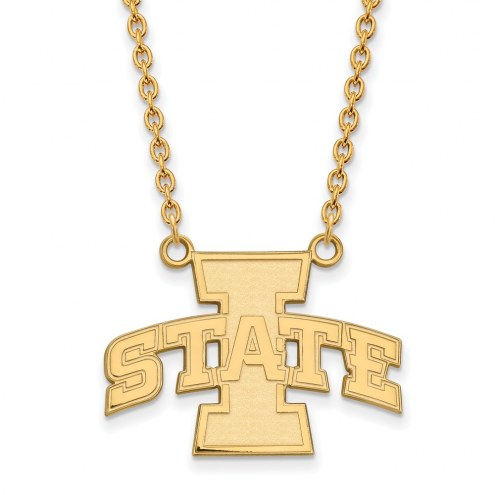 Iowa State Cyclones NCAA Sterling Silver Gold Plated Large Pendant Necklace