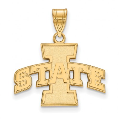 Iowa State Cyclones NCAA Sterling Silver Gold Plated Medium Pendant