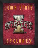 Iowa State Cyclones Retro Logo Map Framed Print