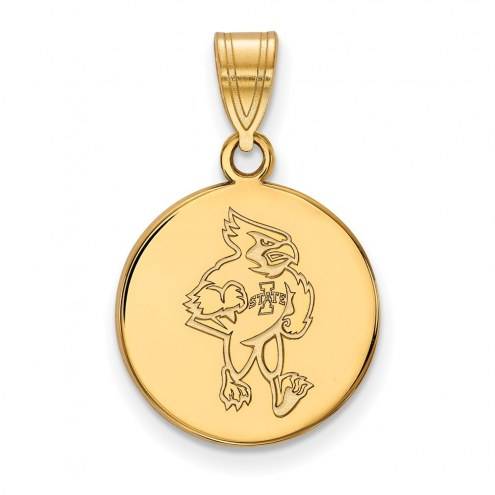 Iowa State Cyclones Sterling Silver Gold Plated Medium Disc Pendant