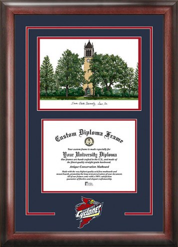 Iowa State Cyclones Spirit Diploma Frame with Campus Image