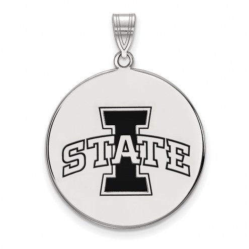 Iowa State Cyclones Sterling Silver Extra Large Enameled Disc Pendant