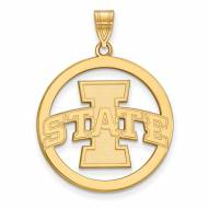 Iowa State Cyclones Sterling Silver Gold Plated Large Circle Pendant