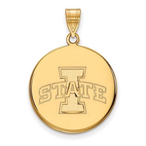Iowa State Cyclones Sterling Silver Gold Plated Large Disc Pendant