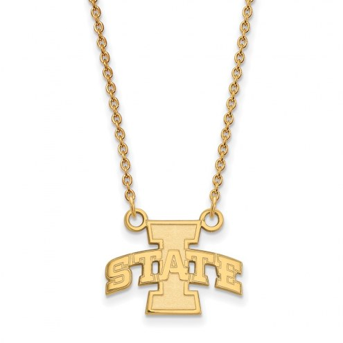 Iowa State Cyclones Sterling Silver Gold Plated Small Pendant Necklace