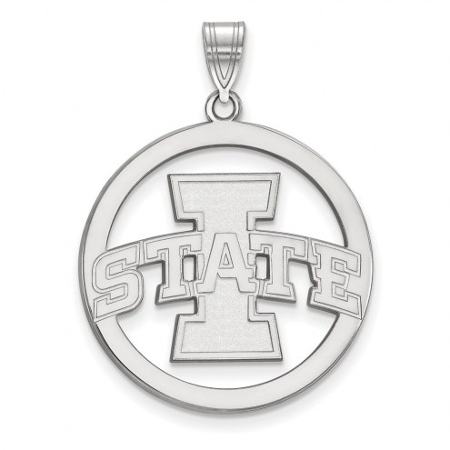 Iowa State Cyclones Sterling Silver Large Circle Pendant