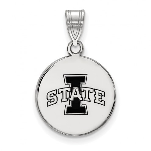 Iowa State Cyclones Sterling Silver Medium Enameled Disc Pendant