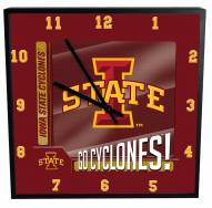 Iowa State Cyclones Team Black Square Clock