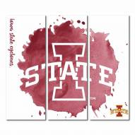 Iowa State Cyclones Triptych Watercolor Canvas Wall Art