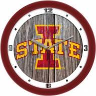 Iowa State Cyclones Weathered Wood Wall Clock