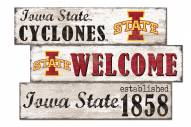 Iowa State Cyclones Welcome 3 Plank Sign