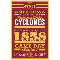 Iowa State Cyclones Established Wood Sign