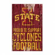 Iowa State Cyclones Proud to Support Wood Sign