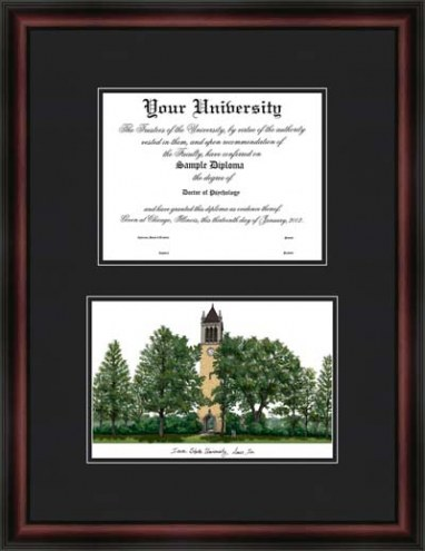 Iowa State University Diplomate Framed Lithograph with Diploma Opening