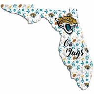 """Jacksonville Jaguars 12"""""""" Floral State Sign"""