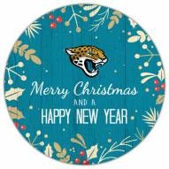 """Jacksonville Jaguars 12"""""""" Merry Christmas & Happy New Year Sign"""