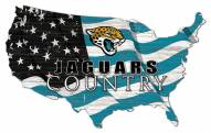 "Jacksonville Jaguars 15"""" USA Flag Cutout Sign"