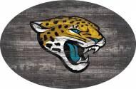 """Jacksonville Jaguars 46"""""""" Distressed Wood Oval Sign"""