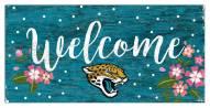 """Jacksonville Jaguars 6"""""""" x 12"""""""" Floral Welcome Sign"""