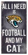 "Jacksonville Jaguars 6"""" x 12"""" Football & My Cat Sign"