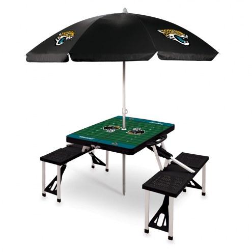 Jacksonville Jaguars Black Picnic Table w/Umbrella