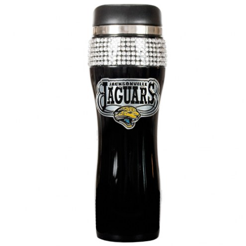Jacksonville Jaguars Black Stainless Steel Bling Travel Tumbler