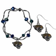 Jacksonville Jaguars Dangle Earrings & Crystal Bead Bracelet Set