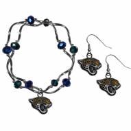Jacksonville Jaguars Dangle Earrings & Crystal Bead Bracelet Set