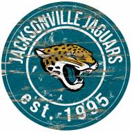 Jacksonville Jaguars Distressed Round Sign
