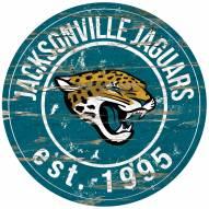 Jacksonville Jaguars Distressed Round Sign
