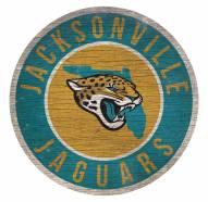 Jacksonville Jaguars Round State Wood Sign