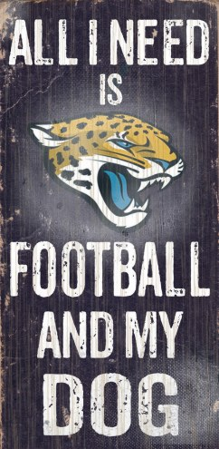 Jacksonville Jaguars Football & Dog Wood Sign