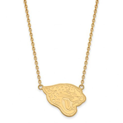 Jacksonville Jaguars Sterling Silver Gold Plated Large Pendant with Necklace