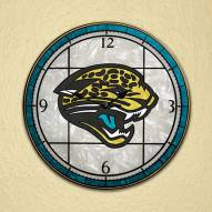 Jacksonville Jaguars NFL Stained Glass Wall Clock