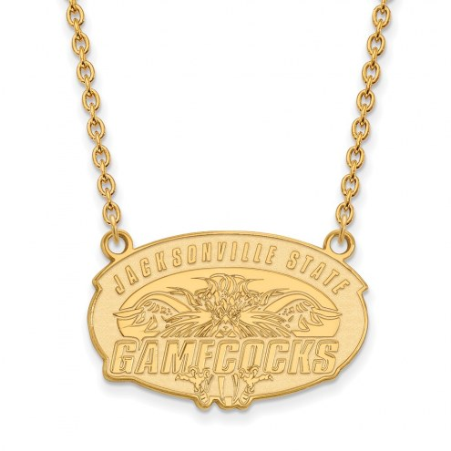 Jacksonville State Gamecocks Sterling Silver Gold Plated Large Pendant Necklace