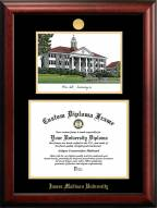James Madison Dukes Gold Embossed Diploma Frame with Campus Images Lithograph